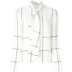 Tory Burch Checked Pussy Bow Blouse (1.305 BRL) ❤ liked on Polyvore featuring tops, blouses, white, bow neck top, white silk blouse, bow collar blouse, silk blouse and silk top