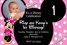 Card: Minnie Mouse Ears Birthday Invitations ONE PICTURE pink