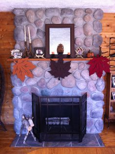 Leaf felt place-mats from Big Lots will score this simple but elegant look for only a few dollars. Fall Fireplace Decor, Simple Fireplace, Fall Crafts, Decor Crafts, Diy Home Decor, Fall Halloween, Halloween Ideas, Holiday Decorating, Decorating Ideas