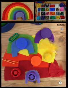 "Colour play with a felt rainbow and colourful loose parts - from Rachel ("",)"