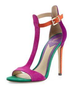 Multicolor Suede T-Strap Heel