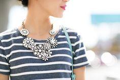 Breton stripes, statement necklace