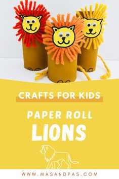 Learn how to make these adorable toilet paper roll lions for an easy art craft your kids will love! Whether you just want a fun animal craft or need easy lion art projects, these toilet paper roll lions are the perfect activity that's easy enough for preschoolers or kids of any age. #lioncrafts #toiletpaperrollcrafts #paperrollcrafts #paperrollanimals #easykidscrafts Animal Crafts For Kids, Crafts For Kids To Make, Toddler Crafts, Kid Crafts, Arts And Crafts, Zoo Animals, Animals For Kids, Lions For Kids, Indoor Crafts