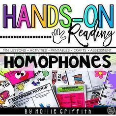 Teach homophones with this engaging hands-on resource. This bundle includes seven days of mini lessons, anchor charts, class games with recording sheets, an interactive notebook page, task cards, puzzles, a craft, and a quick assessment. #HollieGriffithTeaching #KidsActivities #HandsOnLearning