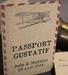 Menu de mariage passeport