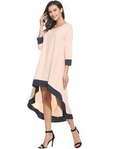 1791dbccb89e ANGVNS Womens Solid Loose 3 4 Sleeve High Low Long Jersey Maxi  DressPinkXXLarge