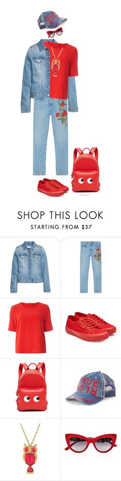 """""""Denim & Red for ColorQueens"""" by ragnh-mjos ❤ liked on Polyvore featuring H&M, Gucci, Dorothy Perkins, Superga, Anya Hindmarch, True Religion and Dolce&Gabbana"""