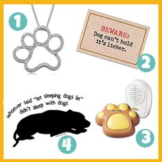 Awesome Fetch Friday selections: diamond paw necklace, pawesome doormat, paw door bell, and cute t-shirt!