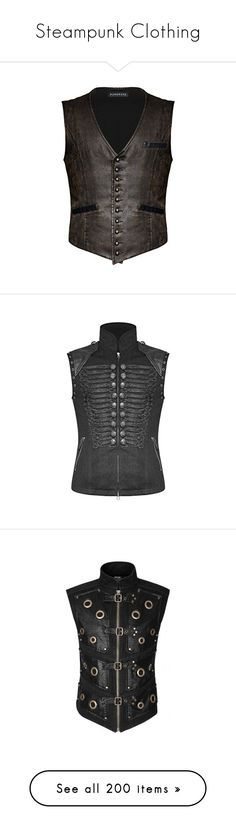 """""""Steampunk Clothing"""" by selene-cinzia ❤ liked on Polyvore featuring men's fashion, men's clothing, steampunk mens clothing, mens clothing, goth mens clothing, vintage mens clothing, outerwear, vests, studded vest and fake leather vest"""