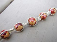 Hemp Bracelet...knots,,, looks like nook jasper....