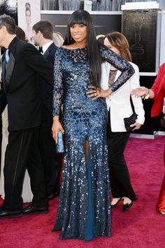 Jennifer Hudson  Midnight blue Roberto Cavalli Couture with a front-slit looked extra glamorous on the singer. Academy Awards 2013 Red Carpet Fashion Dresses - Elle