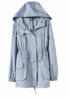 Blue Drawstring Long Sleeve Cotton Blend Trench Coat