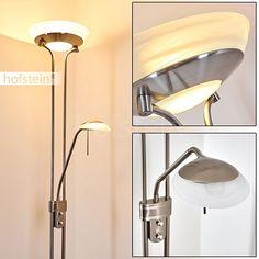 Deckenfluter aus Metall Nickel matt - Stehlampe mit verstellbarem Lesearm für Wohnzimmer - Schlafzimmer Stehleuchte Büro - Fluter und Leseleuchte sind getrennt voneinander schalt- und dimmbar