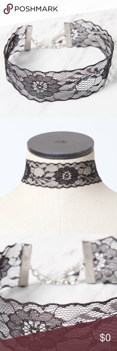 NWT Black Lace Choker Dainty and feminine, this must-have accessory enhances any outfit. LA Hearts crafts this choker from black lace with a wide silhouette and an extender chain.  14'' in length Wide, lace band Extender chain LA Hearts Jewelry Necklaces