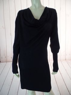 AUTUMN CASHMERE Sweater Dress L Black Pullover Thin Fine Knit Cowl Neck Long Sleeve SO CHIC!