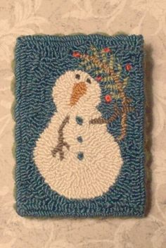 Primitive Needle Punch Pin~Snowman And Twig Feather Tree
