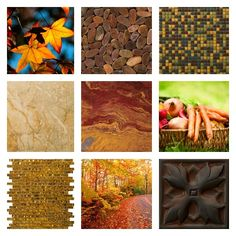 it's beginning to look a lot like fall...#emsertile #fall #design #homeimprovement #natural #stone #glass #metail #tile #color