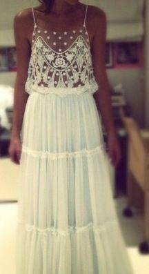 this is the dress I want! So boho chic. Pretty Dresses, Beautiful Dresses, Gorgeous Dress, Romantic Dresses, White Lace Maxi Dress, White Maxi, Sheer Dress, Sequin Dress, White Hippie Dress