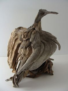 Driftwood Eagle Sculpture