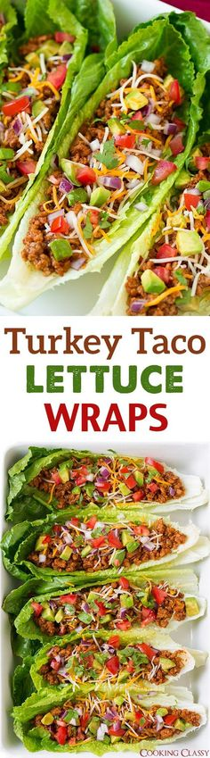 Turkey Taco Lettuce Wraps - these are incredibly delicious!! We liked them just as much as the classic ground beef tacos but they are healthier and lighter! Turkey Lettuce Wraps, Turkey Tacos, Taco Lettuce Wraps, Meat Recipes, Mexican Food Recipes, Healthy Recipes, Cooking Recipes, Turkey Recipes, Ethnic Recipes