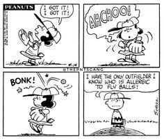 #thepntsgang #pnts #peanuts #schulz #charliebrown #lucy #achoo #bonk #outfielder #allergic #flyballs