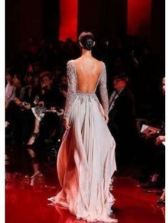 Champagne A-line/Princess Hög Hals Lång Ärm Applique Floor-length Chiffong Dress för 3 976 kr