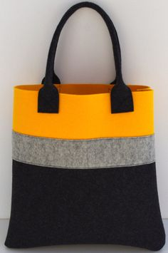 Felt Tote, Yellow Charcoal Shopper, Shopping Bag Yellow and Dark Grey, Wool Felt Shopper