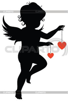 Silhouette of an angel with hearts Engel Silhouette, Silhouette Painting, Silhouette Projects, Silhouette Design, Valentine Cupid, Valentines Art, Black And White Art Drawing, Resin Jewelry Molds, Stained Glass Patterns