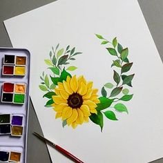 Drawing Flowers Sunflower Ideas For 2020 Pencil Art Drawings, Art Drawings Sketches, Easy Drawings, Sunflower Drawing, Sunflower Art, Sunflower Paintings, Watercolor Flowers, Watercolor Paintings, Drawing Flowers