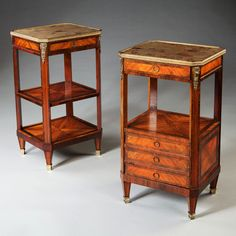 Pair of Louis XVI Bedside Tables : Nicholas Wells Antiques  A fine pair of 19th century Louis XVI bedside tables, each with Breccia marble tops set within gilt bronze borders.