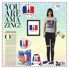 """""""You are amazing in Paris"""" by sandyspider ❤ liked on Polyvore featuring Zipz, paris, pants, contestentry, slimpants and shein"""