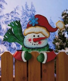 Snowman Fence Topper Christmas Holiday Outdoor Yard Decor Decoration IN STOCK