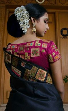 What a beautiful large low bun with real flower gajra! Care however should be taken before adopting such hairstyles, as due to it's high static charge, it will cause phlegm to move up in the throat, causing the voice to quaver & a frequent urge to clear t Indian Wear, Indian Fashion, Indian Clothes
