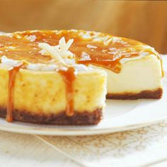 Fresh Ginger Cheesecake -A gingersnap crust, ginger-spiced filling, and crystallized-ginger topping make this cheesecake a fun fall favorite.