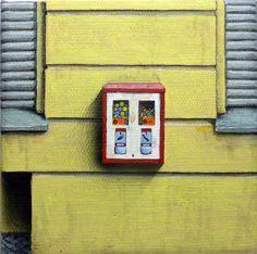 Acrylmalerei - Berliner Kaugummiautomat Nr.84 Original 15x15x2cm - ein Designerstück von AtelierMarcusKlein bei DaWanda