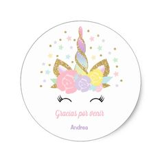 Unicorn Pink & Gold Party Favour Tag Sticker Seal - unicorn birthday diy gift idea present unicorns customize Happy Birthday Floral, Gold Birthday Party, Unicorn Birthday Parties, Unicorn Party, Birthday Diy, Birthday Gifts, Pink Gold Party, Pink And Gold, Party Favor Tags