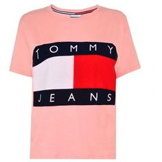 Tommy Jeans Flock T Shirt ($45) ❤ liked on Polyvore featuring tops, t-shirts, pink, crewneck tee, crewneck t shirt, red top, red crew neck t shirt and short sleeve tee