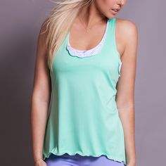 Calypso green a-line layer tennis top. Made in USA. Shop Activewear http://www.denisecronwall.com/#!product/prd13/2521067721/calypso-layer-top