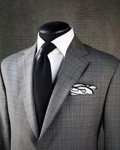 SLATE CHECK Take a look at this fantastic KING & BAY Subtle Slate Glen Check Suit. A garment like this is perfect to expand and add depth… Sharp Dressed Man, Well Dressed Men, Mens Fashion Suits, Mens Suits, Men's Fashion, Suit Combinations, Designer Suits For Men, Checked Suit, Suit And Tie