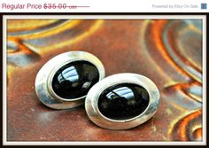 Black Onyx sterling Silver Earrings by serendipitytreasure on Etsy