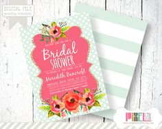 Pretty Watercolor Floral Bridal Shower Invitation - CUSTOMIZABLE PRINTABLE INVITATION - Pink with Mint Polka Dot and Gold Glitter Accent