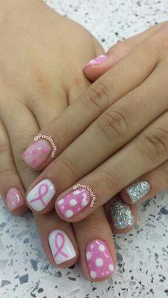 Pink ribbon, breast cancer awareness, glitter nails