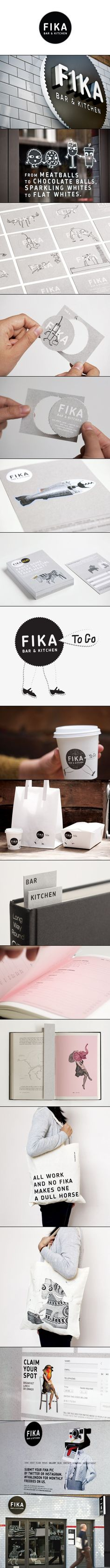 Brand Identity for Fika by Designers Anonymous - BP&O Fika Bar and Kitchen. Claim your spot identity packaging branding PDFika Bar and Kitchen. Claim your spot identity packaging branding PD Corporate Design, Brand Identity Design, Graphic Design Branding, Corporate Identity, Retail Design, Visual Identity, Identity Branding, Food Branding, Personal Identity