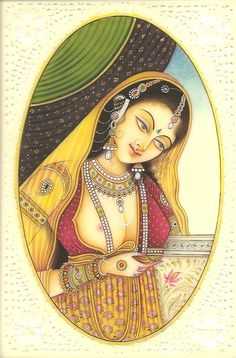 Mughal beauty Subject: Indian Miniature Portrait Painting Paint Material: Opaque watercolors Base Material: Faux (synthetic) ivory** Size: 4 in. India Painting, Woman Painting, Indian Artwork, Mughal Paintings, Miniature Portraits, Miniature Paintings, India Art, Indian Artist, Historical Art