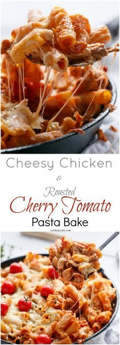 Cheesy Chicken and Roasted Tomato Mozzarella Pasta Bake | http://cafedelites.com