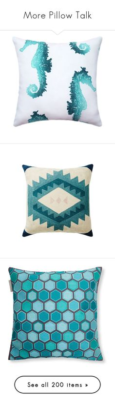 """More Pillow Talk"" by happilyjynxed ❤ liked on Polyvore featuring home, home decor, throw pillows, decorative pillows, home & living, home décor, light blue, seahorse throw pillow, turquoise throw pillows and seahorse home decor"