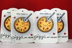 Lawn Fawn | Pizza My Heart | Valentine's Day Gift Tags | by handmadebytahlia