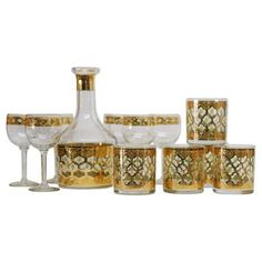 Check out this item at One Kings Lane! Culver Gold Glassware, S/12