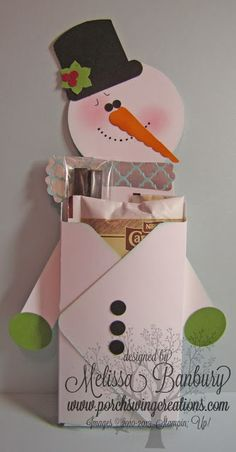 Porch Swing Creations: Frosty Treat Pouch tutorial using SU envelope punch Christmas Paper Crafts, Christmas Tag, Christmas Projects, Handmade Christmas, Holiday Crafts, Envelope Punch Board Projects, Envelope Maker, Craft Show Ideas, Craft Fairs