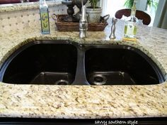i have a black granite sink and would like to do this tan granite top. looks good together